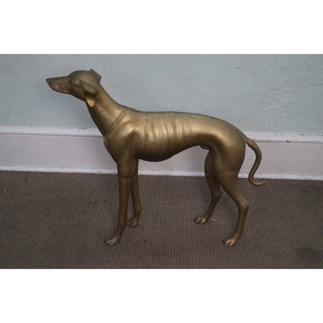 Vintage Brass Whippet Greyhound Dog Statue - Image 9 of 10