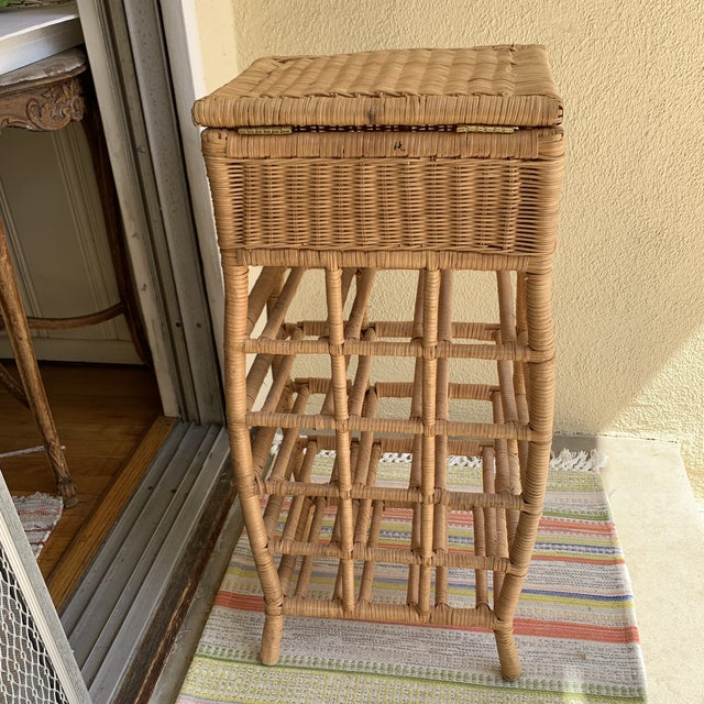 Boho Cottage Wicker Wine Storage & Drawer For Sale In Los Angeles - Image 6 of 11