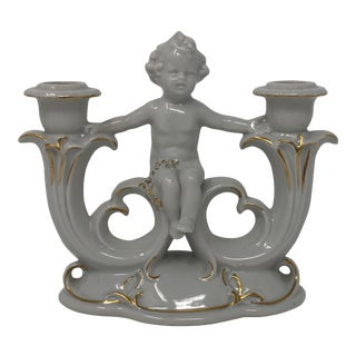 19th Century Wkc Grafenthal German Porcelain Cherub Double Candlestick For Sale
