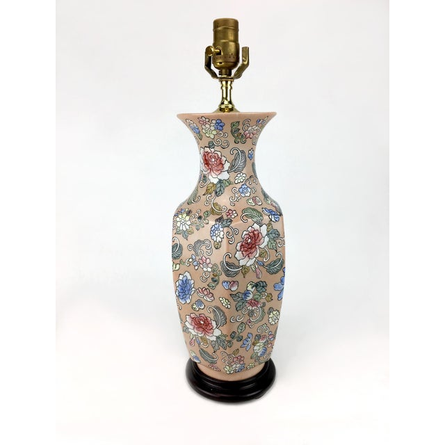 Blossoms Motif Vase Lamp For Sale - Image 4 of 4