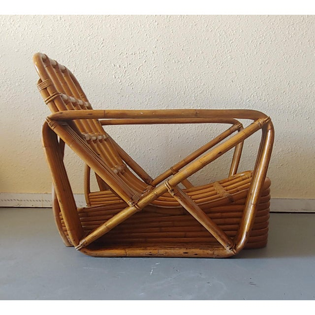 1950s Mid 20th Century Paul Frankl Style Swoop Seat Rattan Lounge Chair For Sale - Image 5 of 13