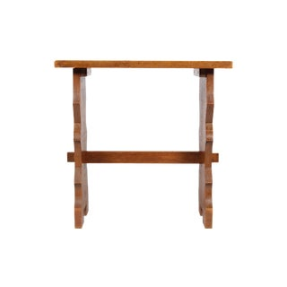 Antique Solid Oak End Table For Sale