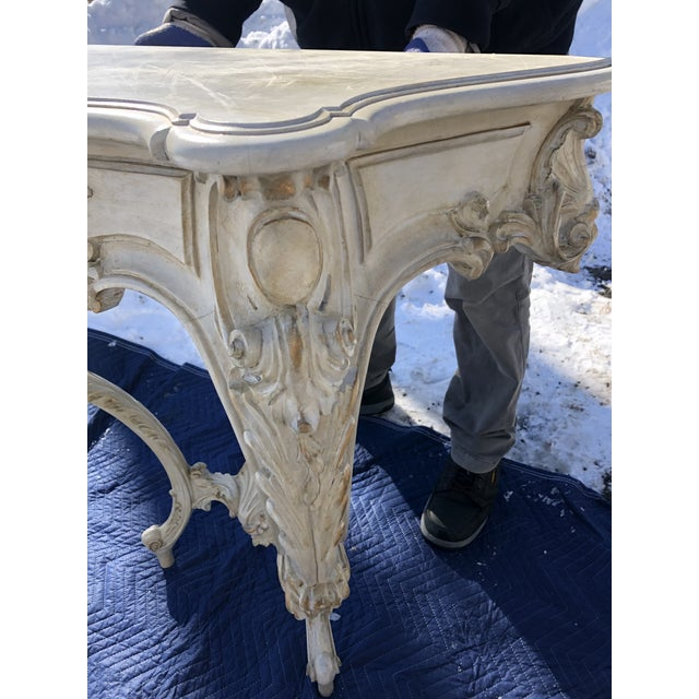 Antique White Louis XV Style Relief Carved Antiqued Ivory Painted Parcel-Gilt Console Table For Sale - Image 8 of 12