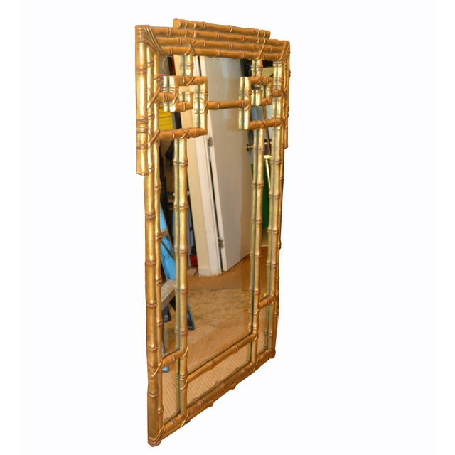 Hollywood Regency Golden Faux Bamboo Greek Key Wall Mirror For Sale In Miami - Image 6 of 13