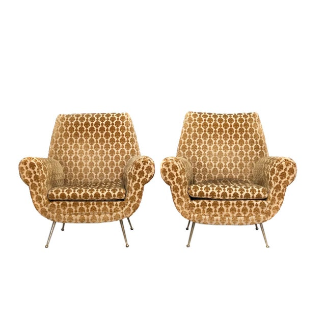 Yellow Mid Century Modern Italian Club Chairs For Sale - Image 8 of 8