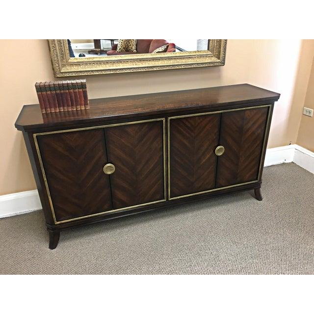 Brown Sleek Funky Herringbone Wooden Sideboard For Sale - Image 8 of 9