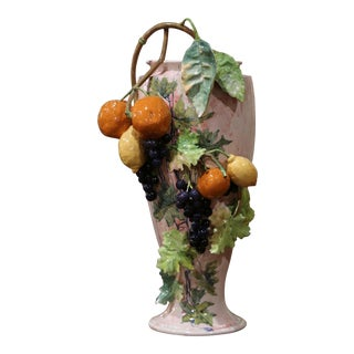 19th Century French Painted Ceramic Barbotine Vase With Fruit and Foliage Decor For Sale