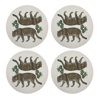 "Leopard Seeing Double, 16"" Round Pebble Placemats, Set of 4 For Sale"