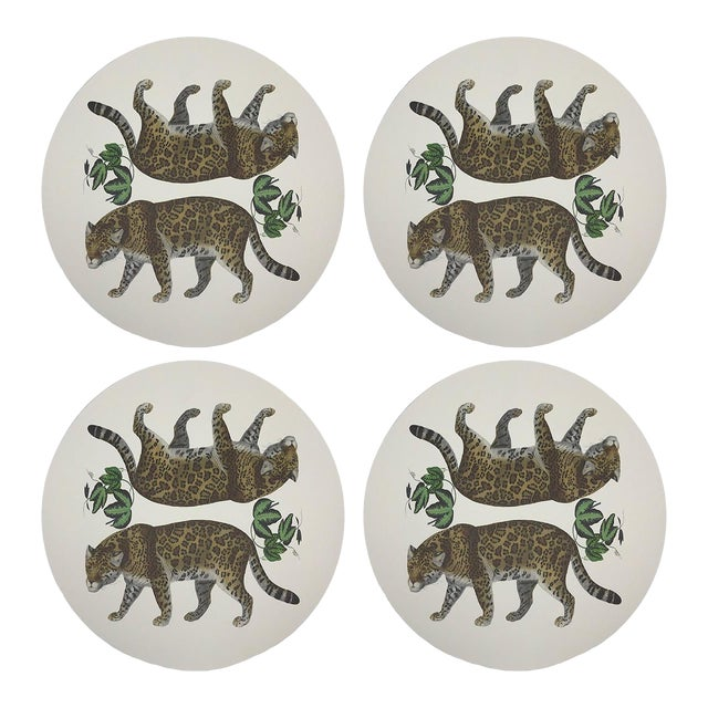 """Leopard Seeing Double, 16"""" Round Pebble Placemats, Set of 4 For Sale"""