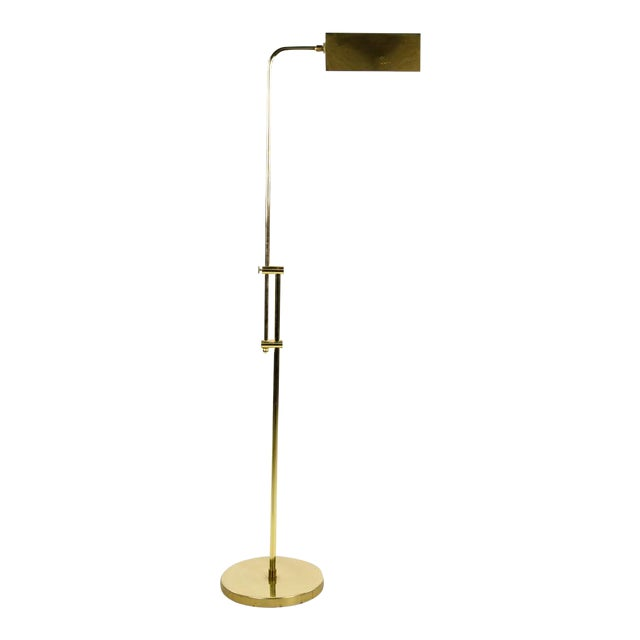 Mid Century Modern Style Brass Adjustable Reading Floor Lamp For Sale