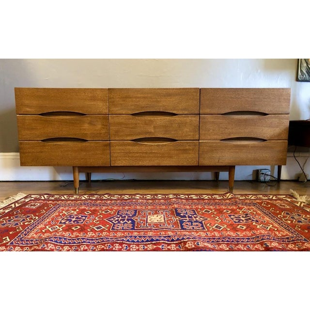 Mid Century American of Matinsville 9 Drawer Dresser/Lowboy For Sale - Image 9 of 9