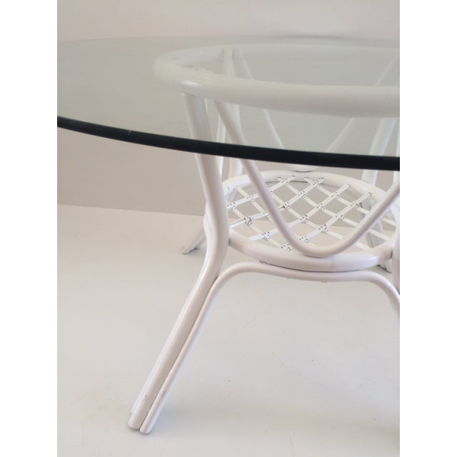1960s 1960s Vintage Hollywood Regency White Rattan Base Dining Table For Sale - Image 5 of 10