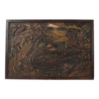 French Art Nouveau Dark Polychromed Plaster Horizontal Wall Plaque For Sale