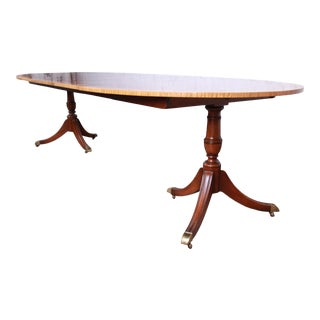 Kindel Furniture Georgian Banded Mahogany Double Pedestal Extension Dining Table For Sale