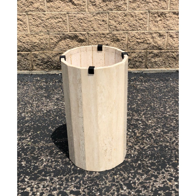 1970s Italian Round Travertine Stone Dining or Center Table For Sale - Image 5 of 8