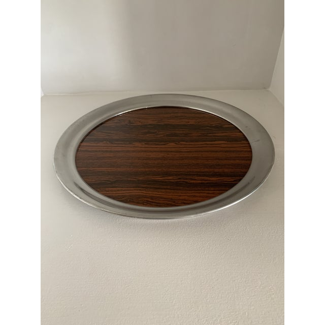 Mid 20th Century Vintage A. L. Hanle Pewter & Rosewood Formica Serving Tray For Sale - Image 4 of 8