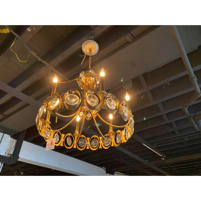 Brass 1970s Gold Brass and Crystal Palwa Chandelier Sciolari For Sale - Image 8 of 8