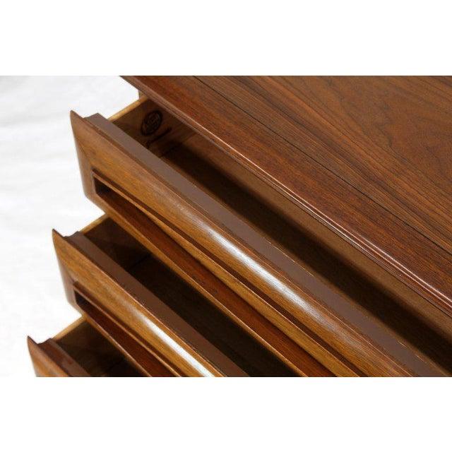 1970s Sculptural Thick Carved Solid Walnut Panels Design 5-Drawer High Chest Dresser For Sale - Image 5 of 13