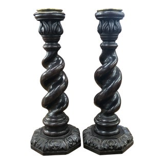 1930s Jacobean Turned Oak Candlesticks - a Pair For Sale