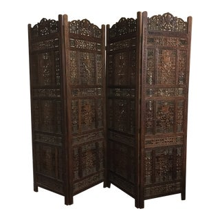 1920s Antique 4 Panel Teak Screen From Pakistan For Sale