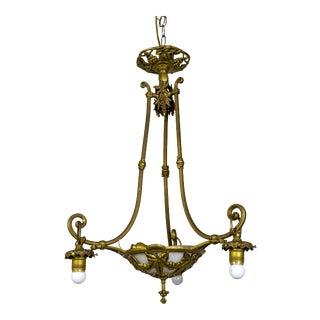 Italian Art Nouveau Brass Leaf & Berry Motif Pendant With Glass Bowl For Sale