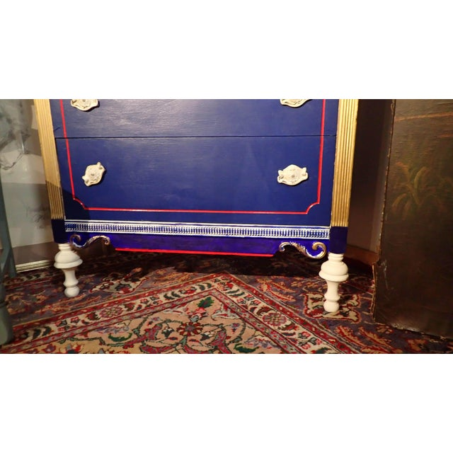 Antique Blue and Red Painted Dresser - Image 7 of 7