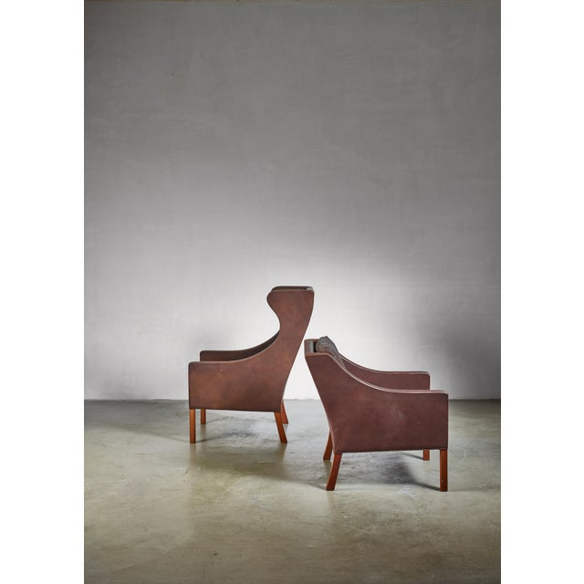 1960s Borge Mogensen Brown Leather Wingback and Lounge Chair With Ottoman For Sale - Image 5 of 7
