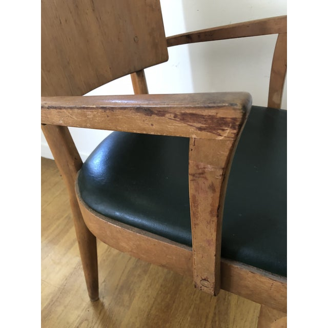1940s Heywood Wakefield Dark Green Upholstered Birch Arm Chair For Sale - Image 5 of 7