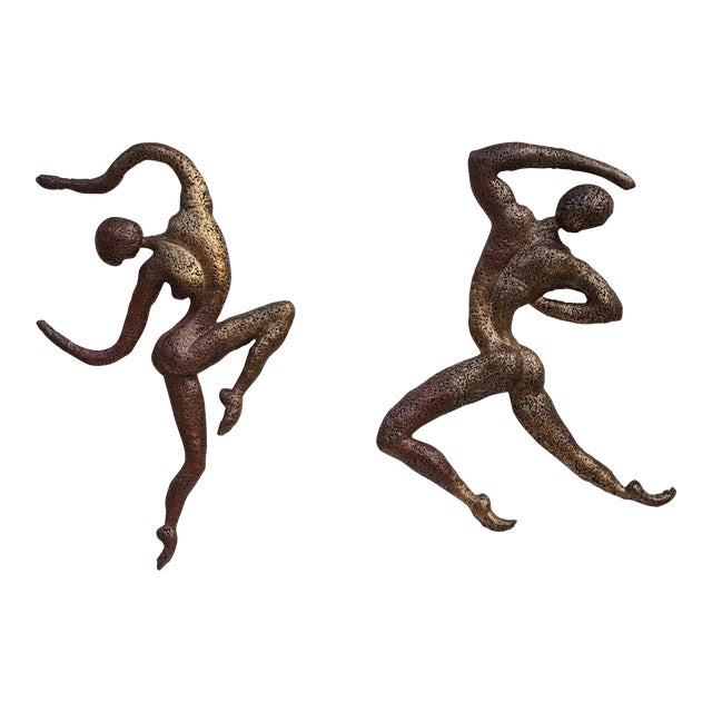 Overscale Brutalist Abstract Acrobats Bronze Wall Sculptures a Pair. - Image 1 of 11
