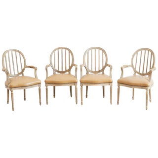 Set of Four Louis XVI Lacquered Dining Chairs For Sale