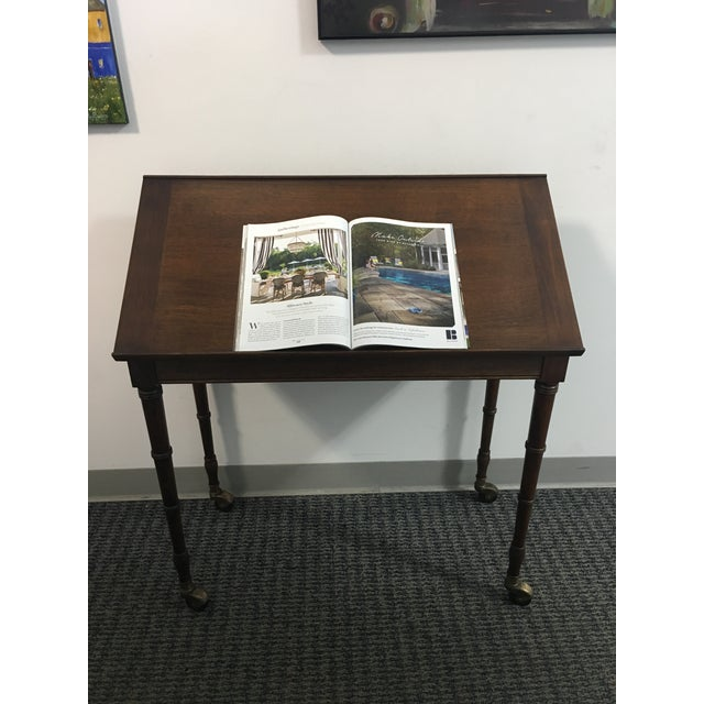 Gold 1960s Chinoiserie Faux Bamboo Table With Tilt Top For Sale - Image 8 of 10
