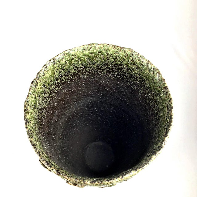 Contemporary Japanese Wood Fired Contemporary Textural Organic Vase For Sale - Image 3 of 9