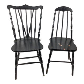 Rustic Black His & Her Windsor Side Chairs For Sale