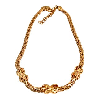 20th Century Christian Dior Gold & Swarovski Crystal Choker Style Necklace For Sale