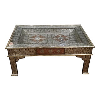 Moroccan Metal Inlaid Coffee Table For Sale