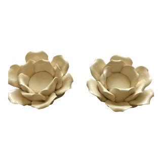 Ceramic Flower Votive Holders - A Pair