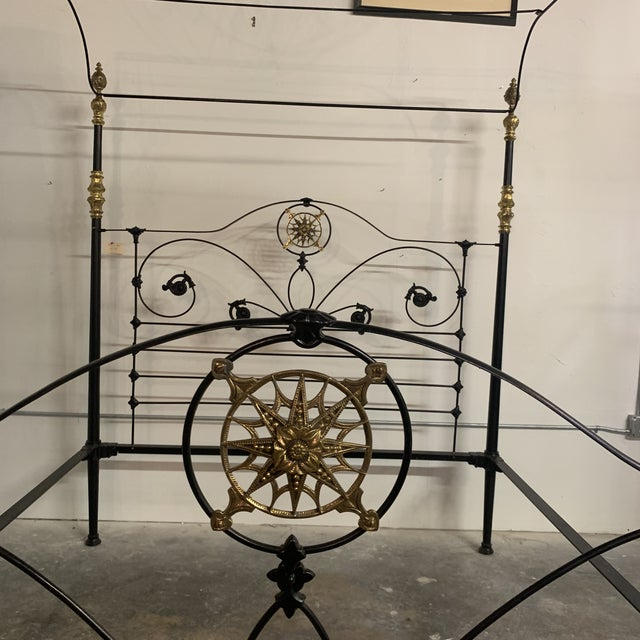 Metal 19th Century Victorian Brass and Iron King Bedframe For Sale - Image 7 of 13