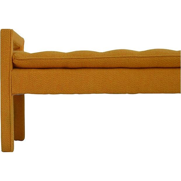 "One button tufted handled bench by Milo Baughman. Seat, 19""H. Some discoloration, primarily on the legs, to the golden..."