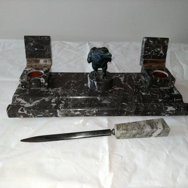 1920s Black Marble Desk Set For Sale - Image 5 of 5