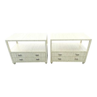 Vintage Contemporary Grass Cloth Nightstands - a Pair For Sale