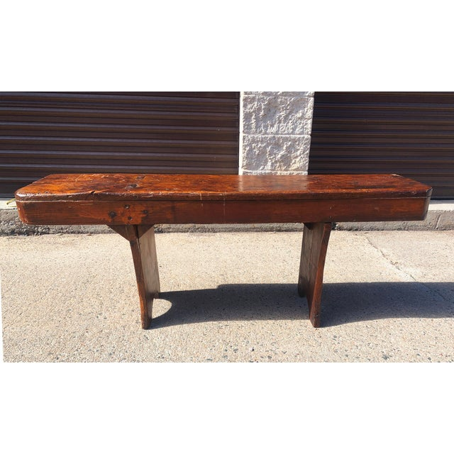 Wonderful small rustic bench hand made of pine barn wood, stained dark brown. This primitive piece is well built, features...