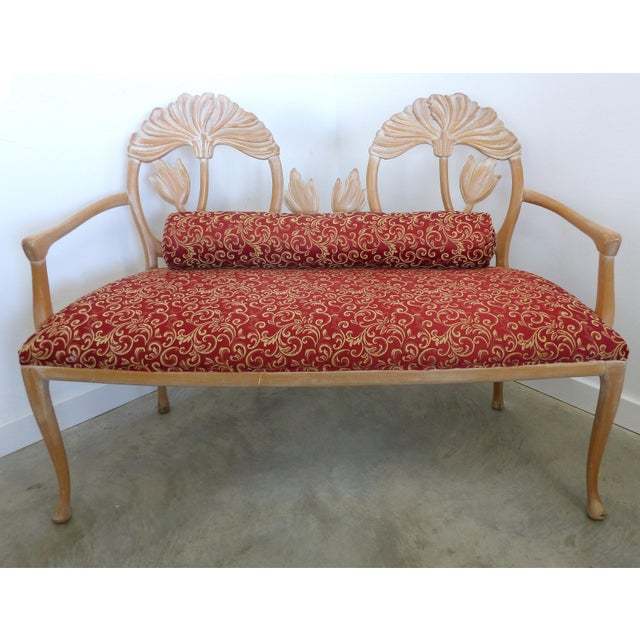 Laverne International LaVerne Style Carved Wood Settee For Sale - Image 4 of 12