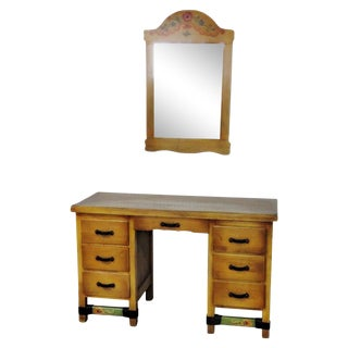 Paint Decorated Vanity With Mirror For Sale