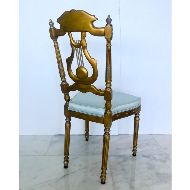 Elegant Belle Epoque Lyre Chair in Antique Gold Leaf, Italy For Sale - Image 4 of 13