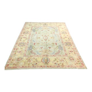 1990s Turkish Oushak Handmade Rug - 8′5″ × 10′8″ For Sale