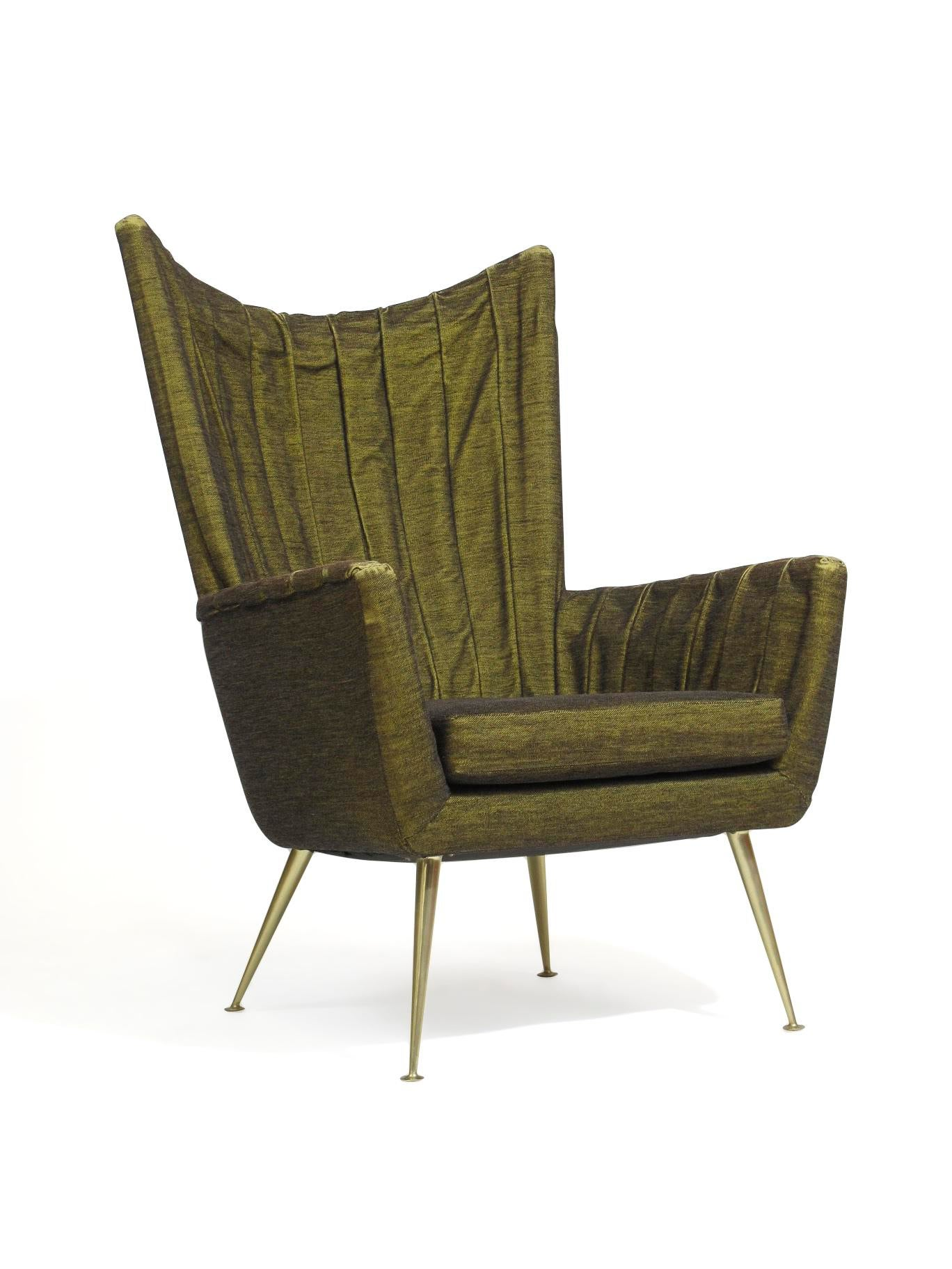 Captivating Pair Of Italian Lounge Chairs In Original Horsehair Fabric For Sale   Image  4 Of 10