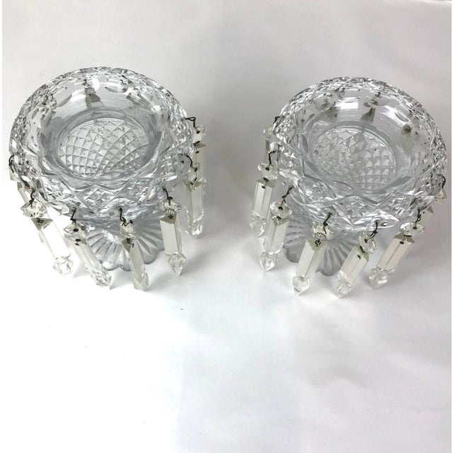 Vintage Crystal Girandoles /Luster Candle Holders - a Pair For Sale - Image 9 of 12