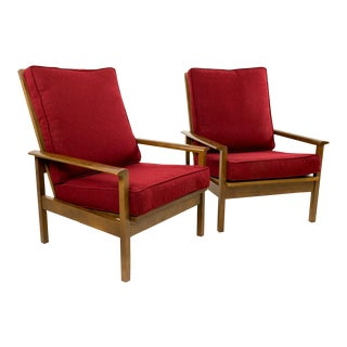 Mid-Century High Back Lounge Chairs - A Pair For Sale