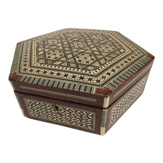 Middle Eastern Moorish Mother-Of-Pearl Inlaid Octagonal Box For Sale