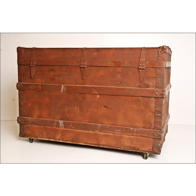Vintage Brown Wood Steamer Trunk - Image 8 of 11